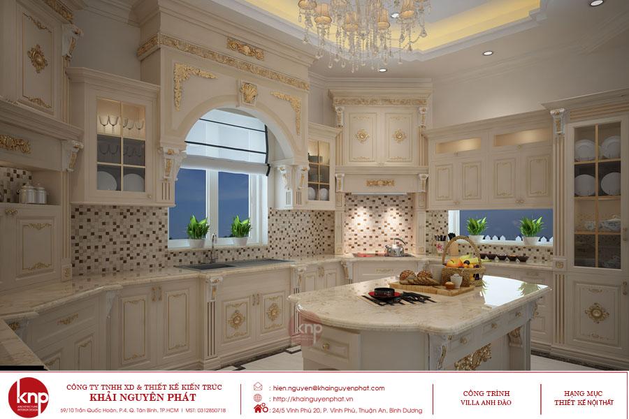 Không gian nội thất bếp tân cổ điển với tủ bếp mạ vàng