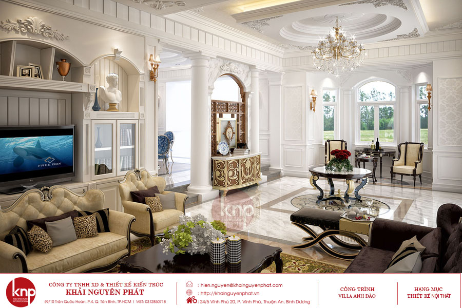 Thiết kế nội thất tân cổ điển phòng khách đẹp như một bức tranh