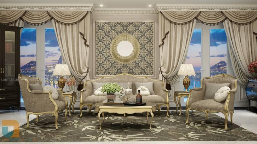 Nội thất phòng khách phong cách hoàng gia