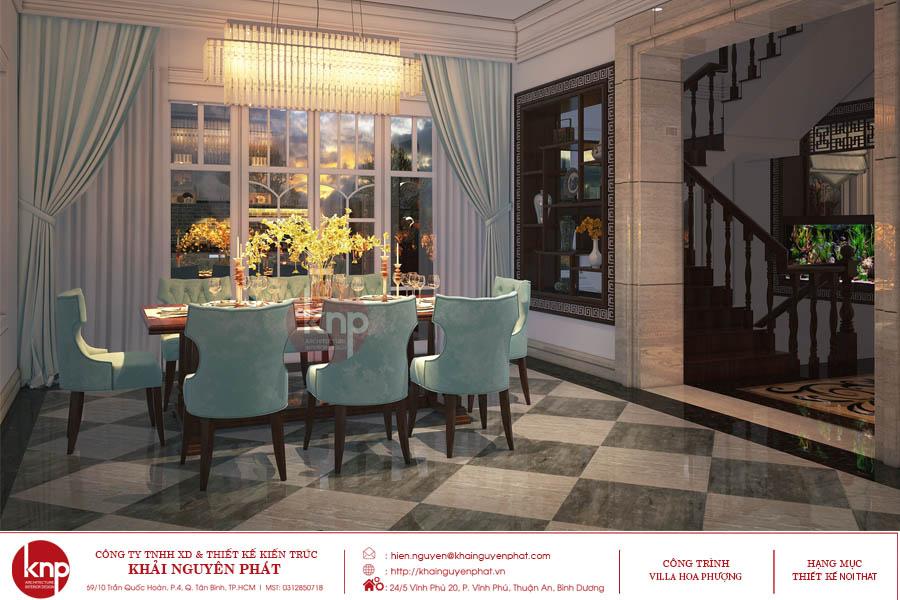 Phòng ăn đậm nét quý tộc với bộ bàn ăn cao cấp