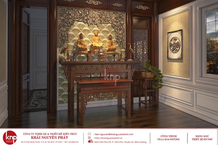 Không gian phòng thờ với vẻ đẹp đặc sắc trong thiết kế