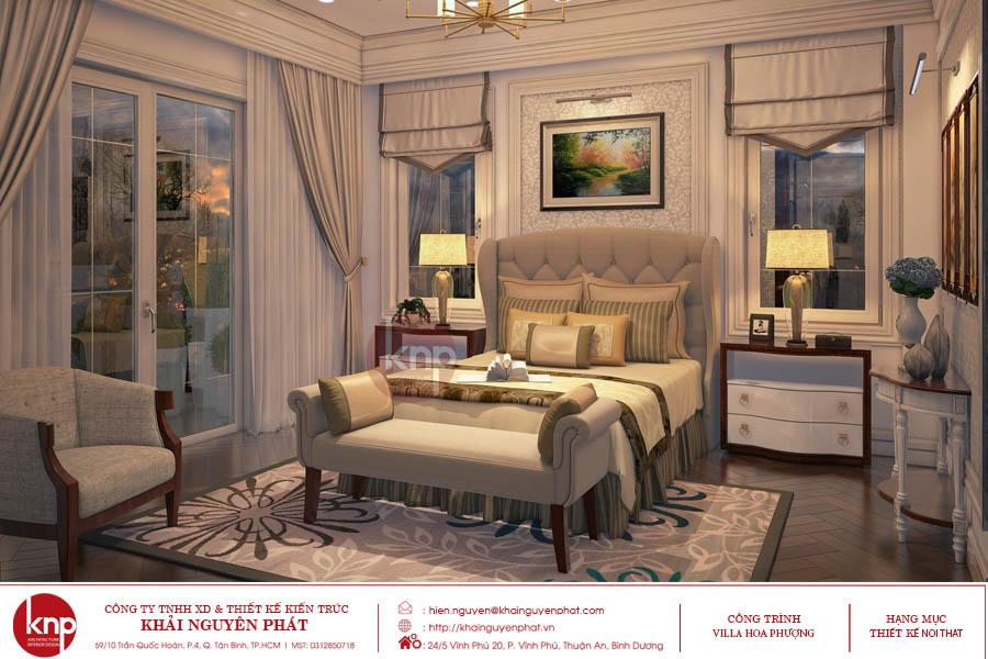 Phòng ngủ tân cổ điển với màu trắng nhẹ nhàng, tinh khôi