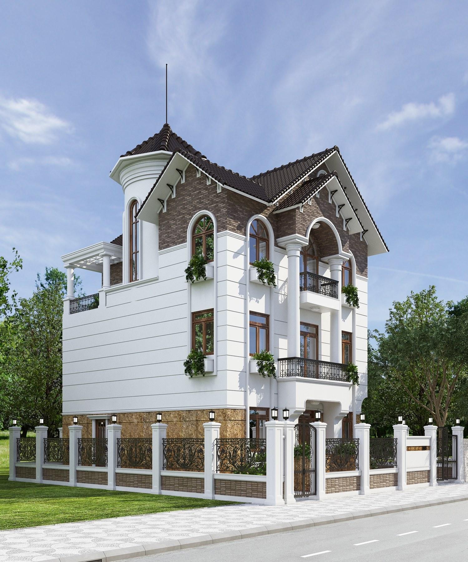 Mặt tiền căn biệt thự được thiết kế ấn tượng