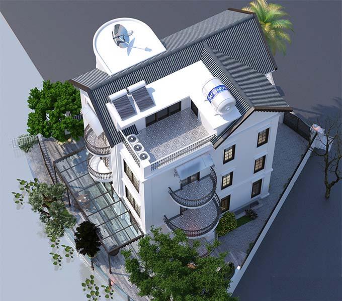 Phối cảnh nhìn từ trên cao biệt thự tân cổ điển 3 tầng