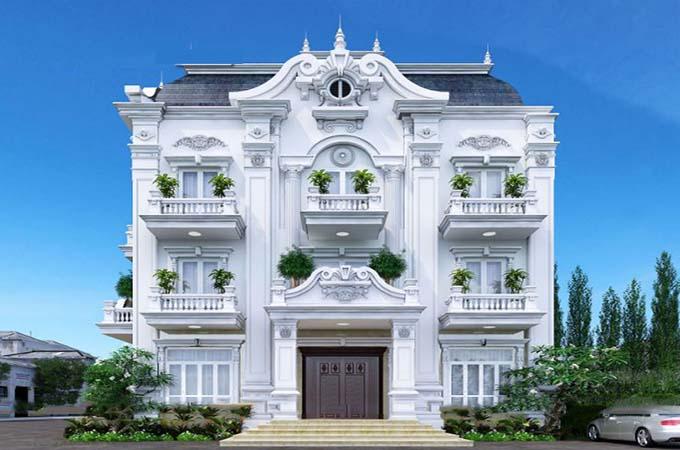 Biệt thự cổ điển với màu trắng sang trọng