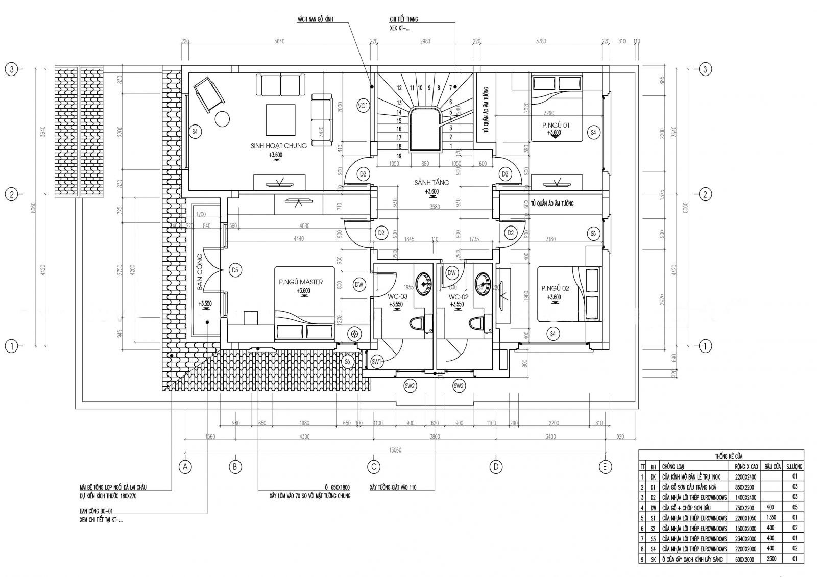 Mặt bằng biệt thự tân cổ điển tầng 2