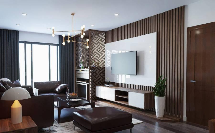 Phòng khách hiện đại ốp gỗ