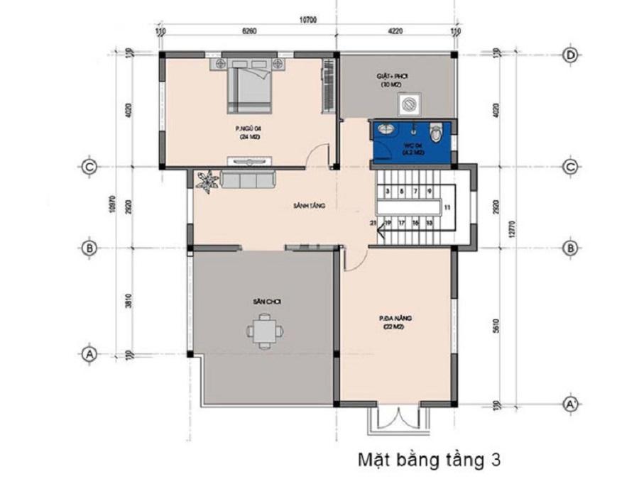 Mặt bằng thiết kế tầng 3