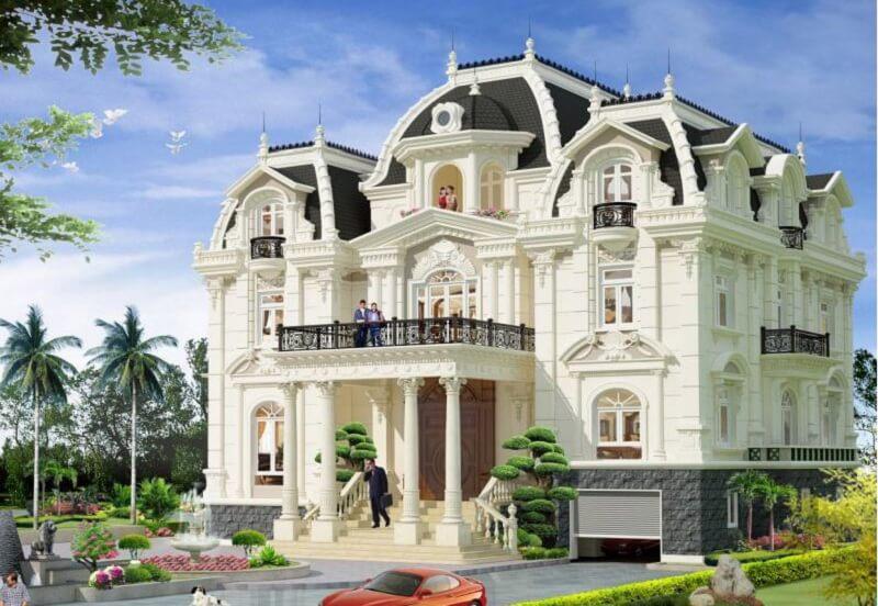 Biệt thự lâu đài với màu trắng tinh khôi