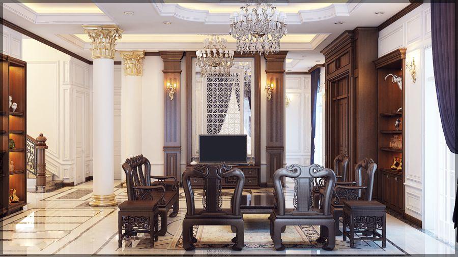 Thiết kế phòng khách biệt thự cổ điển mái thái