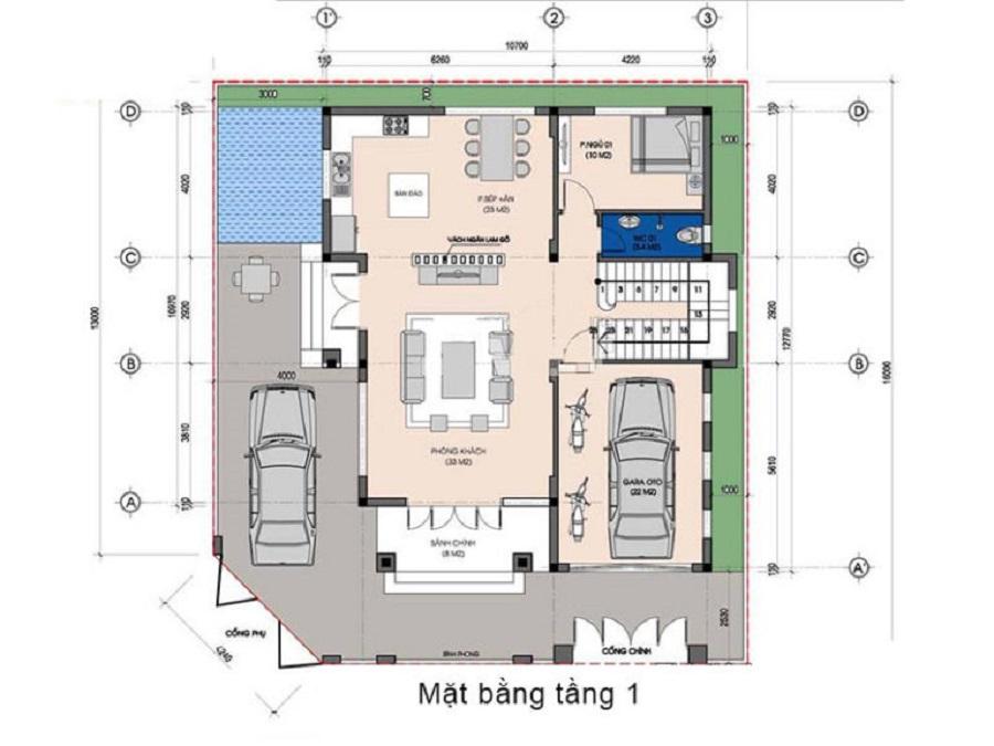 Bản vẽ mặt bằng thiết kế tầng trệt biệt thự cổ điển mái thái
