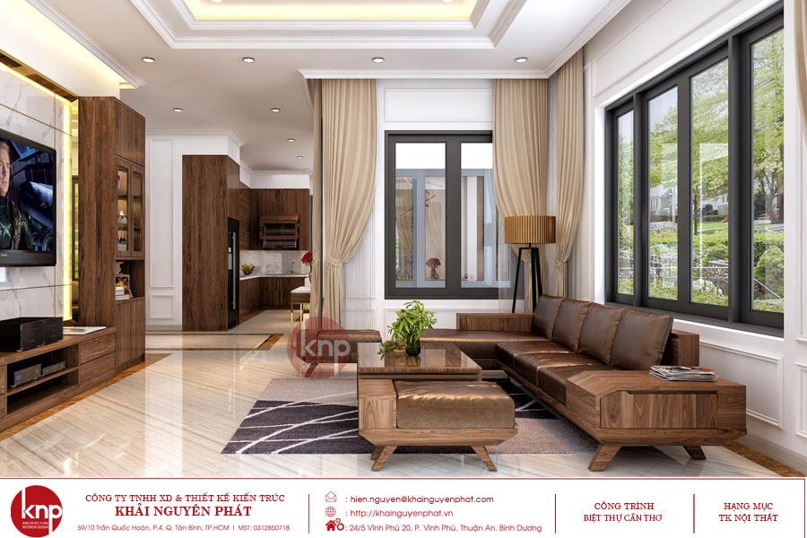 Thiết kế phòng khách đầy đủ ánh sáng