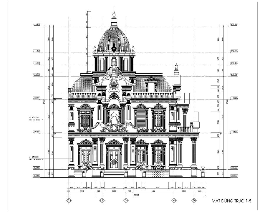 Mặt cắt bố trí lầu 1 biệt thự lâu đài cổ điển