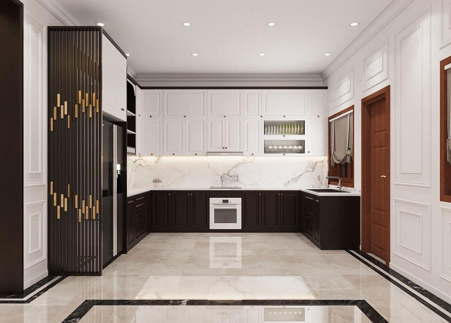 Thiết kế không gian nội thất bếp tân cổ điển đẹp