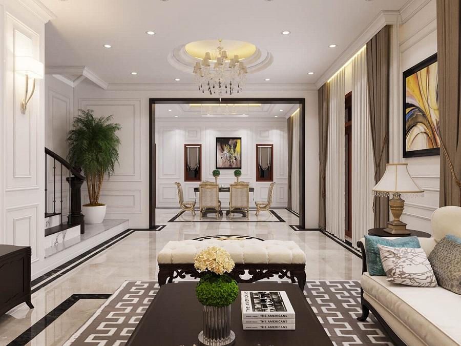 Thiết kế nội thất phòng khách tân cổ điển với màu sắc hài hòa