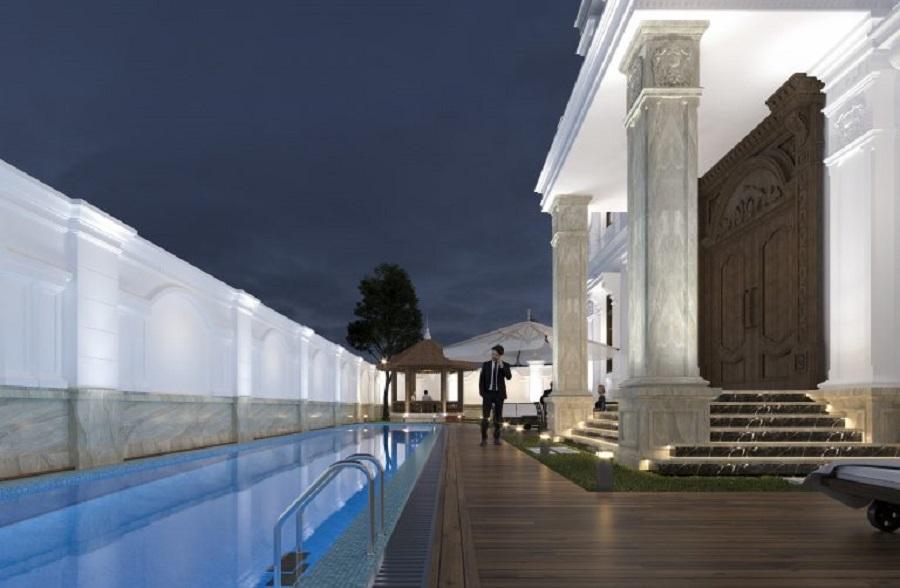 Biệt thự cổ điển sang trọng kèm hồ bơi trong xanh
