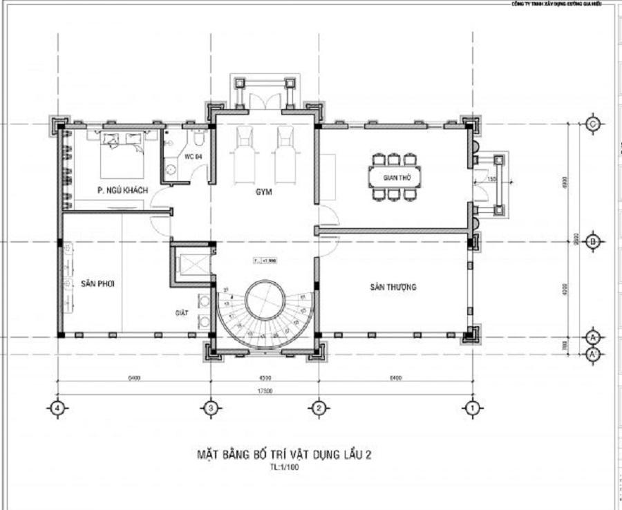 Thiết kế công năng lầu 2 biệt thự