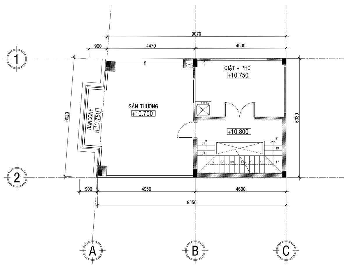 nhà tân cổ điển mặt tiền 6 mét